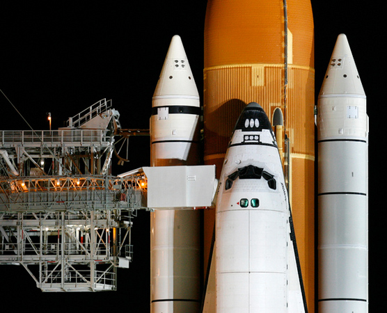 The Space Shuttle Endeavour prepares for launch.