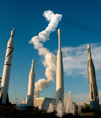 The Space Shuttle Atlantis launch as viewed from the Rocket Garden at the Kennedy Space Center Visitors' Complex.